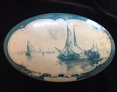 Vintage DROSTE HAARLEM HOLLAND Cocoa Cookie Tin Oval Blue Off-white Ships Patina