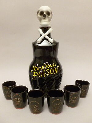 "Tilso Ceramic ""Name Your Poison"" Decanter Set, Japan"