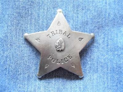 Tribal Police Star Badge With Raised Chief Head Western Law Lawman Pin Pinback