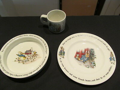 3 Piece Vintage Peter Rabbit Nursery Set By Wedgwood