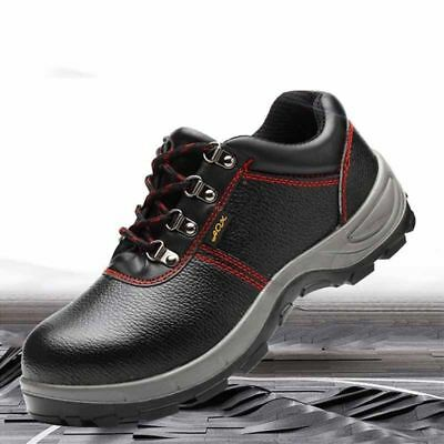 Steel Toe Sports Shoes Men's Leather Safety Work Flat Boots Waterproof Anti-Skid