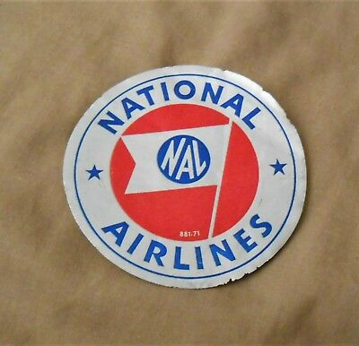 Old Vintage National Airlines Nal Flag Airplane Aircraft Plane Aviation Sticker
