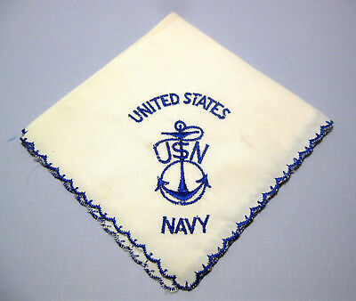 Vintage WW2 United States Navy Women's Hankie White W/Blue Design