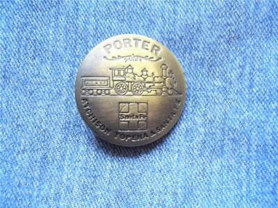 Solid Brass Train Porter Badge Atchison Topeka Santa Fe Railroad Pin Pinback