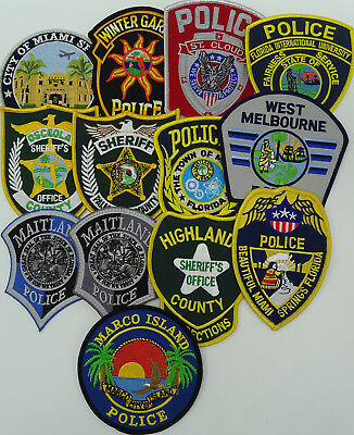 LOT of 13 pieces Florida FL Police Department Police patches D1