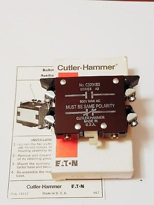 Cutler Hammer C320KB2 Aux Contact Base Mtd 1NO/1NC, Series A2  New