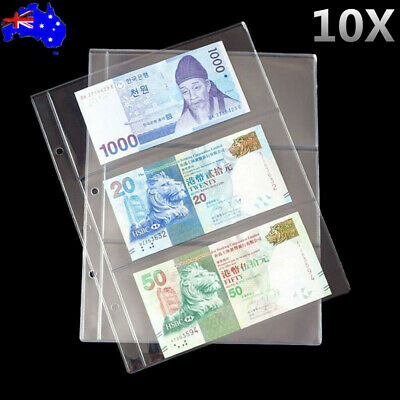 10X 3 Pockets Money Bill Note Currency Holder PVC Collection Album Pages Clear