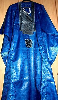 7b53c8caf3e6 Classic-West-African-fully~embroiderered Swiss Brocade Blue Danshiki Fast  P P!