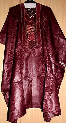 Classic-West-African-fully~embroiderered Swiss Brocade Wine Danshiki Fast P&P!