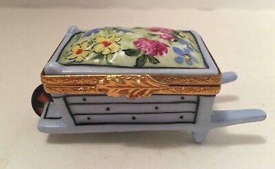 Artoria Limoges Peint Main Flower Wheelbarrow Trinket Box LTD Ed 676/2500 France