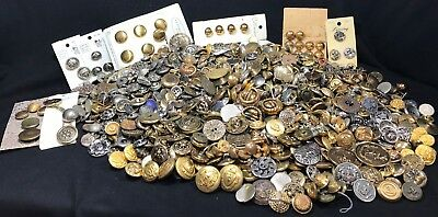 Vintage Metal Button Lot OVER 8.5 pounds! Some Military, Crafting, Sewing