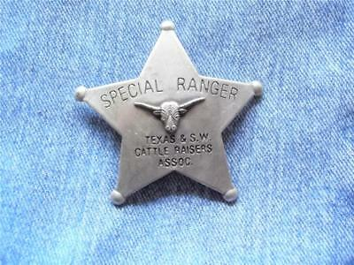 Special Ranger Texas & Sw Cattle Raisers Assoc Star Badge With Longhorn Western