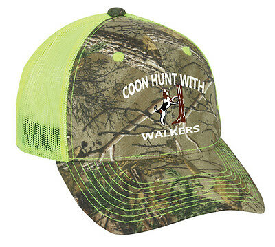 e3dd19b9bae37 Cap Hat Camo Safety Green Mesh Raccoon Coon Hunt Hunter Hound Dog Treeing  Walker