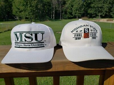 Pair of Vintage Michigan State Spartans Snap back Hat Final Four 1999 2000