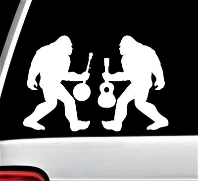 Bigfoot with Banjo and Guitar Decal Sticker for Car Window BG 124