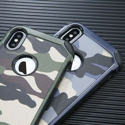 Camouflage For iPhone X XS Max XR Military Case Camo Army Rugged Rubber Case