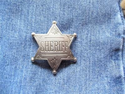 Small 6 Point Sheriff Star Badge Old West Western Law Lawman Pin Pinback