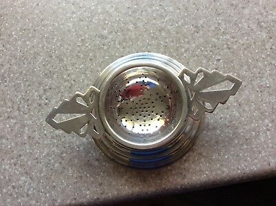 Vintage Clarendon Silver Plated Tea Strainer & Stand Gc