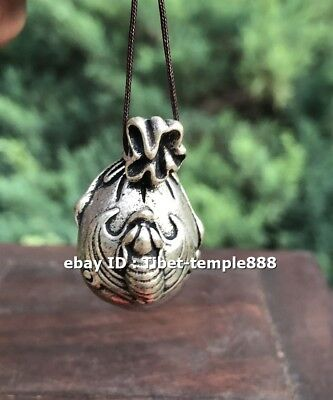 3 CM Chinese Miao Silver Handwork Blessing Bat Money Bag Necklace Amulet Pendant