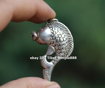4.5 CM Chinese Miao Silver Handwork Lucky Animal carp Fish Wealth Amulet Pendant