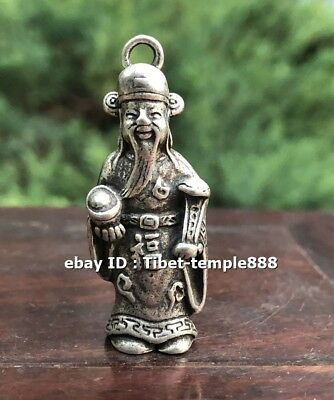 4.5 CM Chinese Miao Silver Wealth God Fortune Mammon Fengshui Statue Sculpture