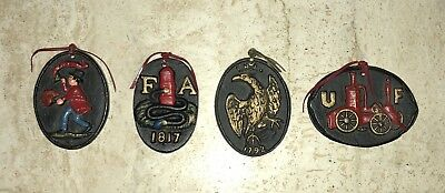 4 Vintage Wilton Cast Iron Fire Insurance Small Wall Plaques FREE SHIPPING