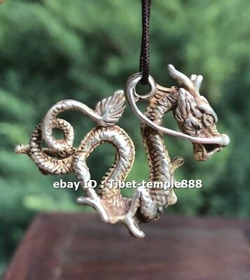 3 CM China Miao Silver Counteract Evil Force Zodiac Animal Dragon Amulet Pendant