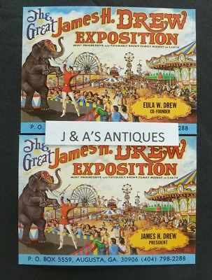 Vintage Business Type? Cards The Great James H Drew Exposition ~ Augusta Georgia