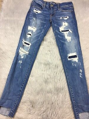 American Eagle Womens AEO Distressed Super Stretch Super Low Jegging Sz 2