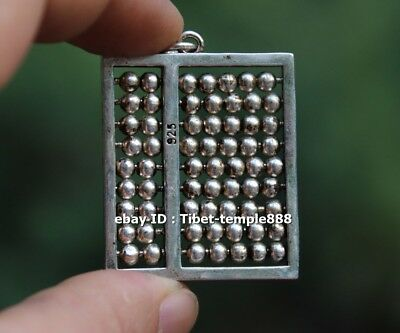 5 CM Miao Silver Chinese auspicious abacus counting frame Necklaces /& Pendant