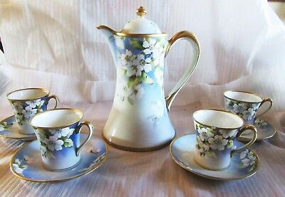 VINTAGE NIPPON CHOCOLATE POT w/ 4 CUPS AND SAUCERS