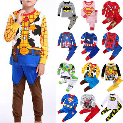 Cartoon Avengers Spiderman Pajamas Set Kids Boys Girl Sleepwear Nightwear Outfit