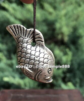 4 CM Chinese Miao Silver carp Fish Lucky Wealth Animal Amulet Pendant Necklace