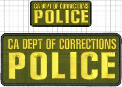 CA DEPT OF CORRECTIONS Police embroidery patch 4x10 and 2x5 hook od green gold