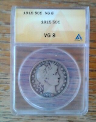 Low Mintage 1915 Barber Half Dollar---ANACS VG-8