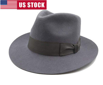 17921e0b0fd Fedora Hat Indiana Jones Mafia Grey Godfather Classic 100% Wool Felt
