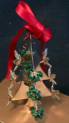 RARE Emilia Castillo Silver Plated Coral Malachite Christmas Tree Ornament fr NM