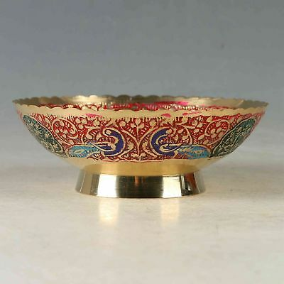 Chinese Exquisite Cloisonne Handwork Carved Peacock Bowl CC1328