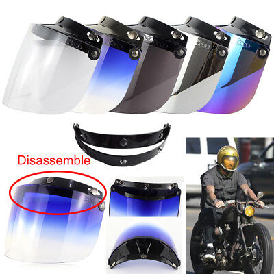 3-Snap Flip Up Visor Shield Lens For Retro Motorcycle Helmet Open Face Brand New