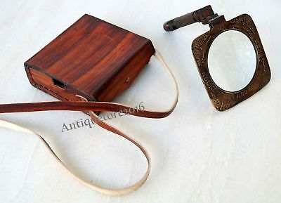 Brass Map Reader Magnifying Glass Nautical Square Henry Hughes Desk Magnifier