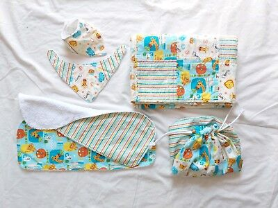 Safari Baby Quilt Set, Burp Cloths, Bandana Bibs, Bag Matching Set