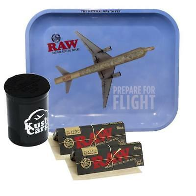 RAW Rolling Tray Large Prepare for Flight with RAW Black Rolling Papers
