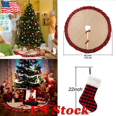 "48"" Red Khaki Burlap Christmas Tree Skirt Base Floor Mat Cover Xmas Party Decor"