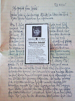 Death card and condolence letter - killed in March 1945 - heroic deed