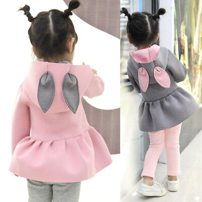 Toddler Baby Girls 3D Ear Bunny Rabbit Coat Long Sleeve Jacket Outfits Clothes