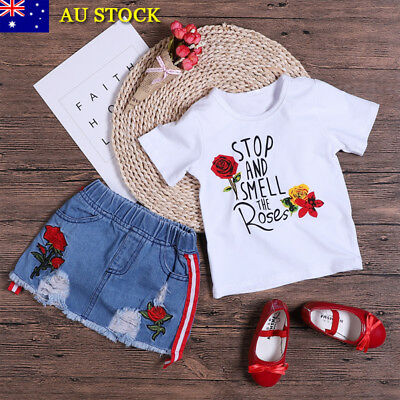 2Pcs Baby Girls Kids Floral T Shirt Tops Denim Skirt Summer Clothes Outfits Set