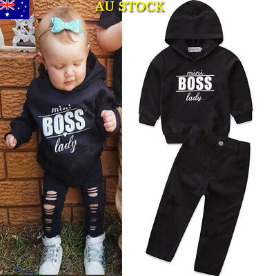 Baby Girls Boys Kids Hooded Hoodies Top+Pants Infant Long Sleeve Clothes Outfit