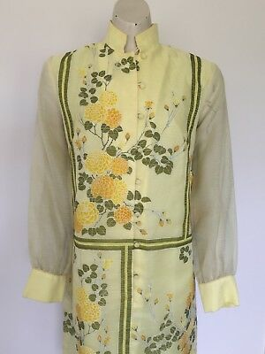 """Womens Vintage """"Alfred Shaheen"""" Oriental Carnations Yellow Dress S"""