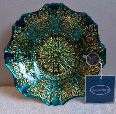 Azzura Handmade Decorative Genuine Silver Bowl blue and gold Made In Turkey