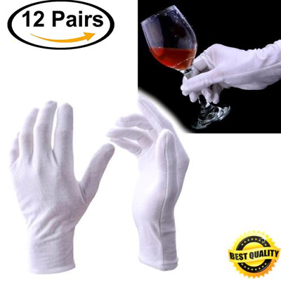 12 Pairs White Cotton Gloves Coin Jewelry Silver Inspection Gloves Large Size